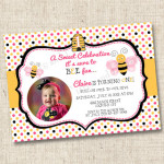 A Sweet Bumblebee Celebration Custom Birthday Party Invitation
