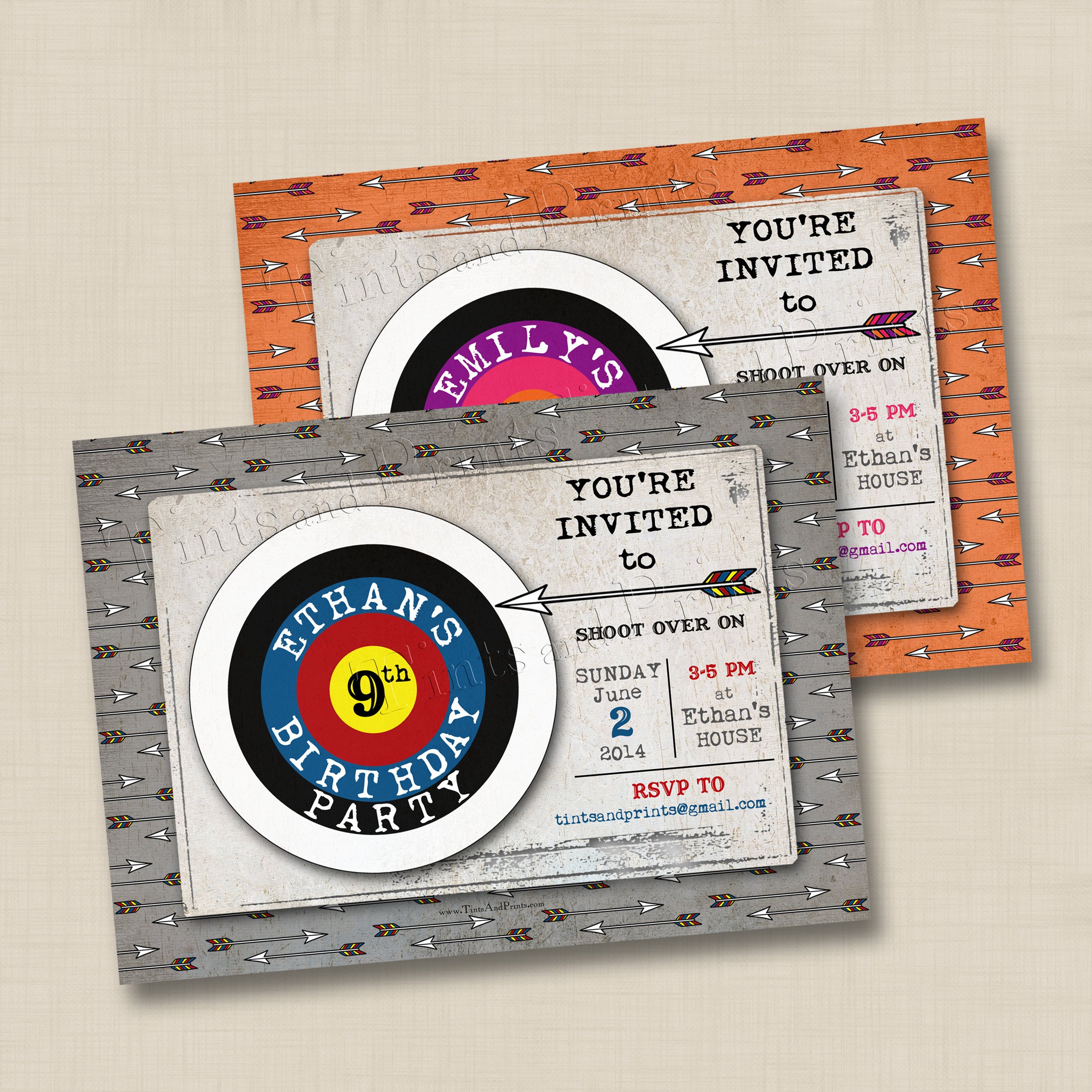 Shoot Over for an Archery Party Custom Photo Card Invitation Design
